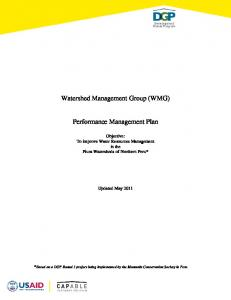 Watershed Management Group (WMG) Performance Management Plan
