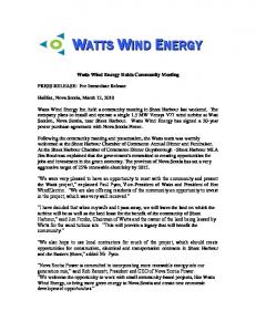 Watts Wind Energy Holds Community Meeting