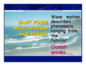 Wave Motion describes phenomena ranging from the familiar... Ocean waves