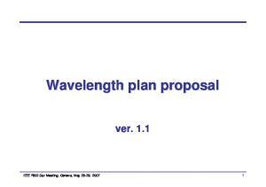 Wavelength plan proposal. ver. 1.1