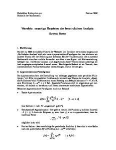 Wavelets: neuartige Bausteine der konstruktiven Analysis