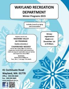 WAYLAND RECREATION DEPARTMENT Winter Programs 2015