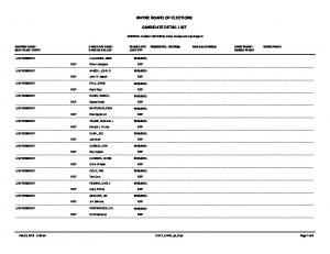 WAYNE BOARD OF ELECTIONS CANDIDATE DETAIL LIST