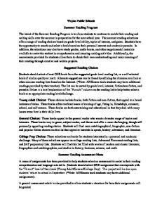Wayne Public Schools. Summer Reading Program. Suggested Reading Choices
