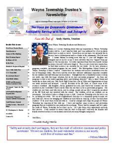 Wayne Township Trustee s Newsletter