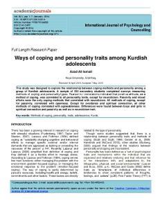 Ways of coping and personality traits among Kurdish adolescents