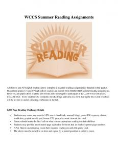 WCCS Summer Reading Assignments