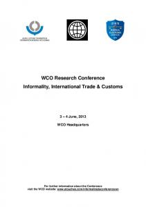 WCO Research Conference Informality, International Trade & Customs