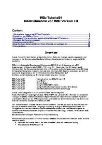 WDz Tutorial01 Inbetriebnahme von WDz Version 7.0