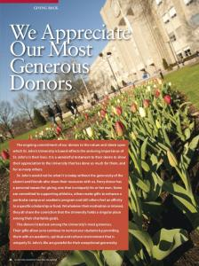 We Appreciate our Most Generous Donors
