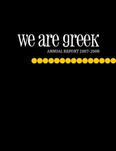 we are greek ANNUAL REPORT
