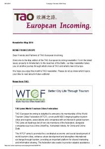 We hope you enjoy this month s TAO newsletter. Please do let us know which topics you d like to read about in future editions!