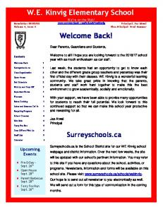 W.E. Kinvig Elementary School We re on the Web!  Welcome Back!