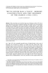 WE VE NEVER HAD A VOICE : MEMORY CONSTRUCTION AND THE CHILDREN OF THE HARKIS ( )