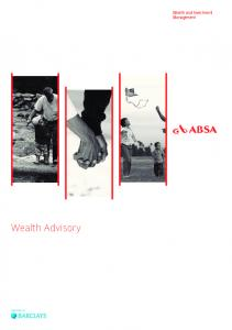 Wealth Advisory. Wealth and Investment Management