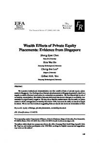 Wealth Effects of Private Equity Placements: Evidence from Singapore
