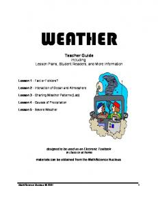 WEATHER. Teacher Guide including Lesson Plans, Student Readers, and More Information