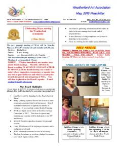 Weatherford Art Association May, 2016 Newsletter