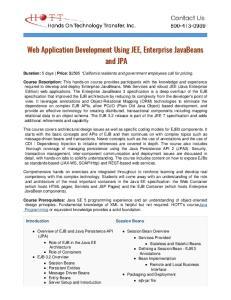 Web Application Development Using JEE, Enterprise JavaBeans and JPA