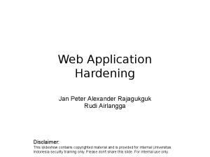 Web Application Hardening