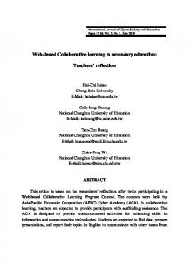 Web-based Collaborative learning in secondary education: Teachers reflection