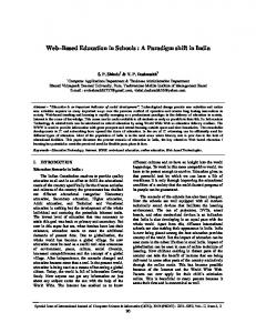 Web Based Education in Schools : A Paradigm shift in India