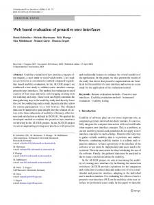 Web based evaluation of proactive user interfaces