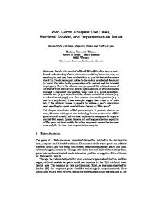 Web Genre Analysis: Use Cases, Retrieval Models, and Implementation Issues