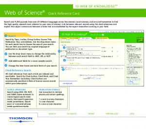Web of Science. Quick Reference Card ISI WEB OF KNOWLEDGE SM. 1 Search. Cited Reference Search