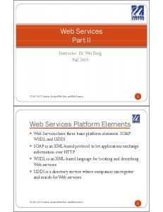 Web Services Part II. Web Services Platform Elements