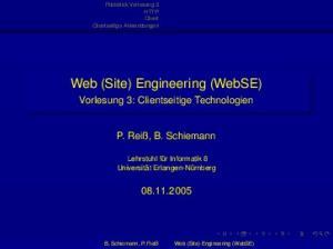 Web (Site) Engineering (WebSE)