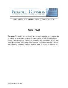 Web Travel MATERIAL & DISBURSEMENT SERVICES, TRAVEL SERVICES