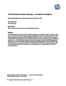 Web Workload Generation Challenges - An Empirical Investigation