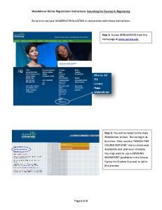 WebAdvisor Online Registration Instructions: Searching for Courses & Registering