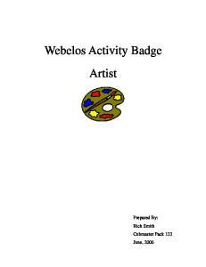 Webelos Activity Badge Artist