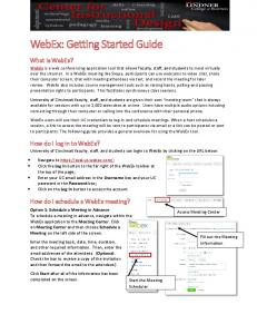 WebEx: Getting Started Guide