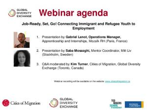 Webinar agenda. Job-Ready, Set, Go! Connecting Immigrant and Refugee Youth to Employment