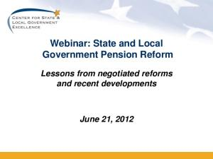 Webinar: State and Local Government Pension Reform