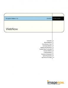 WebNow. product white paper. Perceptive Software, Inc