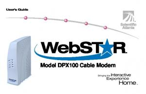 Webstar Cable Modem. Model DPX100 Cable Modem
