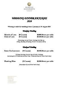 WEDDING DINNER PACKAGES 2014