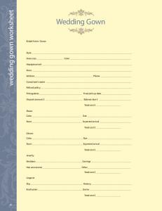 wedding gown worksheet Wedding Gown