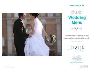 Wedding Menu. Lorien Hotel & Sa
