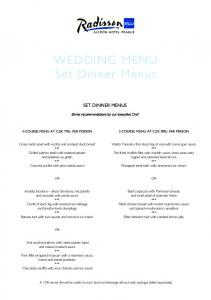 WEDDING MENU Set Dinner Menus