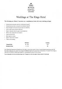 Weddings at The Kings Hotel