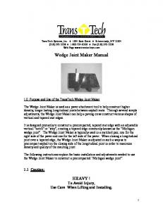 Wedge Joint Maker Manual