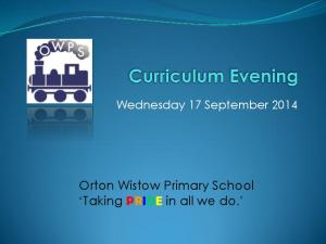 Wednesday 17 September Orton Wistow Primary School Taking PRIDE in all we do