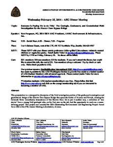 Wednesday February 25, 2014 AEG Dinner Meeting