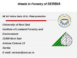 Weeds in Forestry of SERBIA