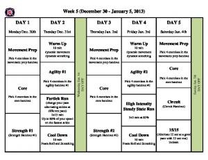 Week 5 (December 30 - January 5, 2013)